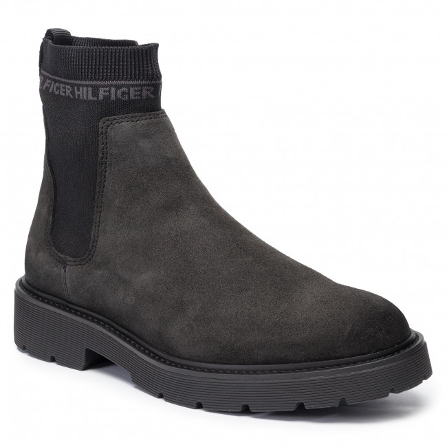 Sztyblety TOMMY HILFIGER - Suede Cleated Chelsea Boot FM0FM02532 Magnet PC9