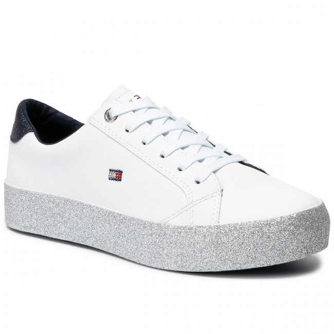 Sneakersy TOMMY HILFIGER - Corporate Crystal Dress Sneaker FW0FW04296 White 100