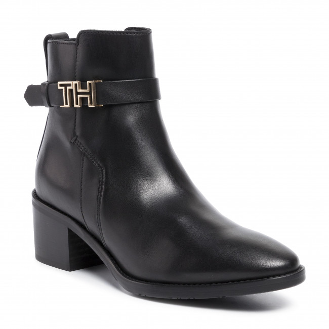 Botki TOMMY HILFIGER - Th Hardware Leather Mid Bootie FW0FW04286 Black 990