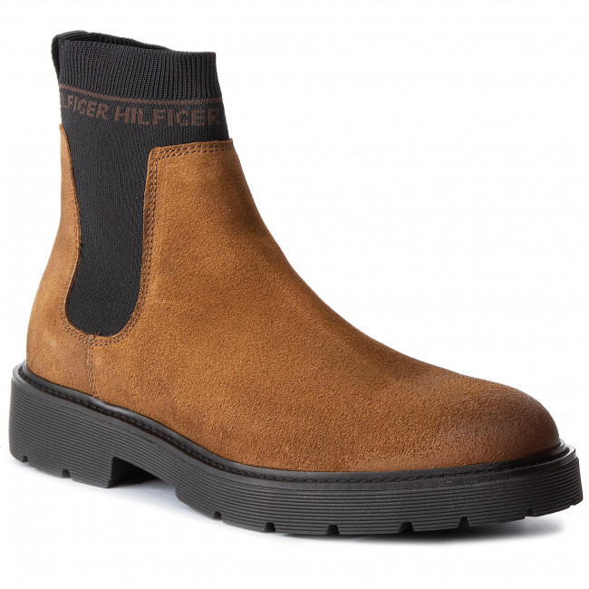 superior materials street price elegant and sturdy package Sztyblety TOMMY HILFIGER - Suede Cleated Chelsea Boot FM0FM02532 Winter  Cognac GVI