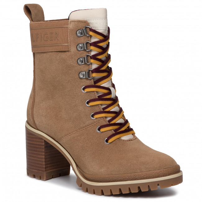 Botki TOMMY HILFIGER - Sporty Outdoor Mid Heel Lace Up FW0FW04341 Tabacco Brown GE4
