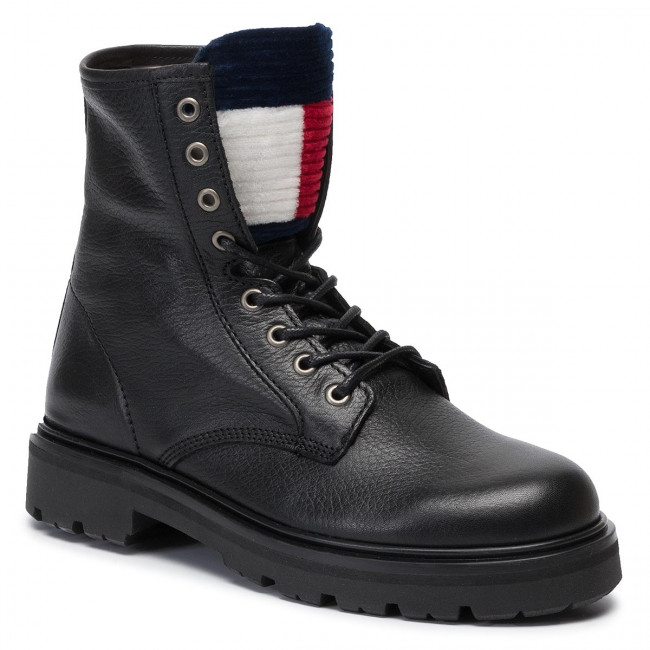 Trapery TOMMY JEANS - Padded Tongue Flatform Boot EN0EN00618  Black 990