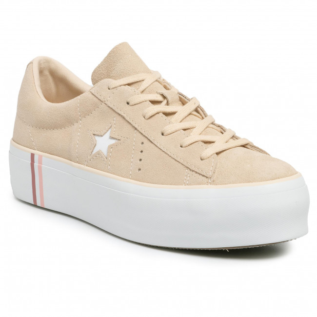 Sneakersy CONVERSE - One Star Platform Ox 565377C Light Bisque/White/White