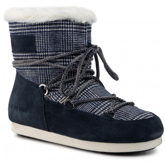 Śniegowce MOON BOOT - Mb Far Side Low Fur/Tartan 24201100001 Navy Blue