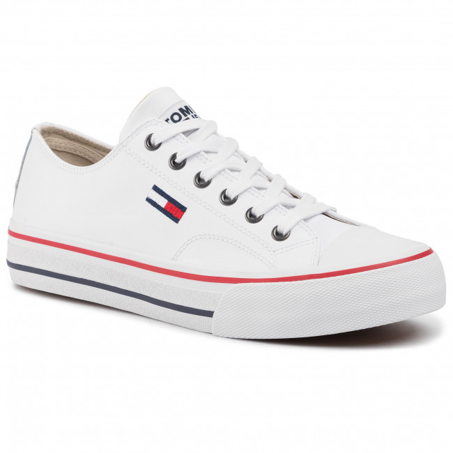 Trampki TOMMY JEANS - Leather City Sneaker EM0EM00394 White Ybs