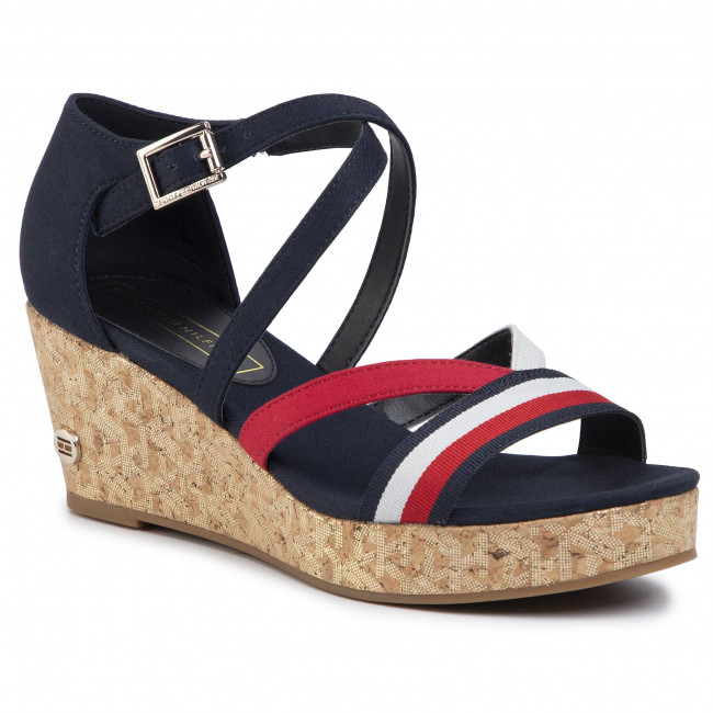 Sandały TOMMY HILFIGER - Corporate Detail Mid Wedge FW0FW04616 Desert Sky DW5