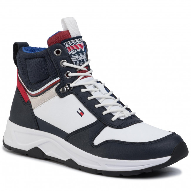 Sneakersy TOMMY HILFIGER - Premium Runner High Boot White YBS