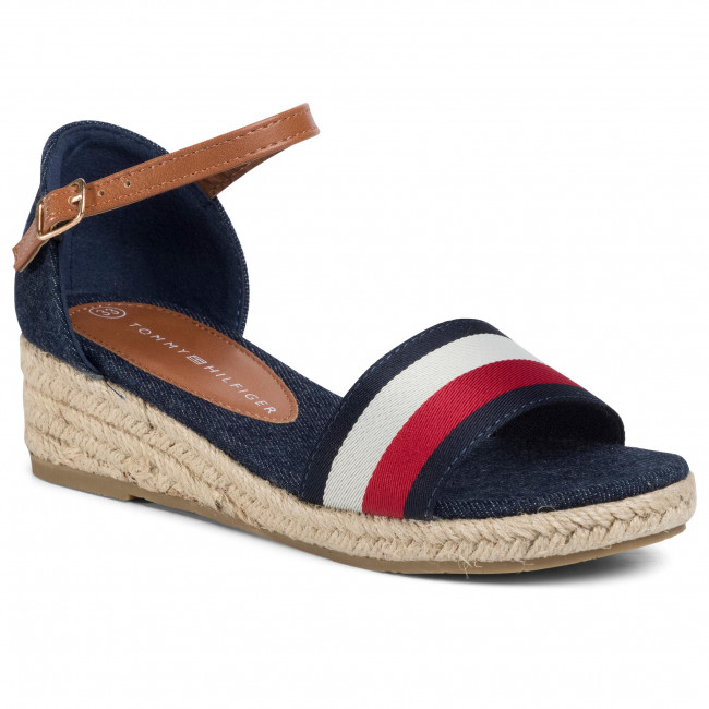 Espadryle TOMMY HILFIGER - Rope Wedge Sandal T3A2-30656-0048Y Blue/White/Red 004