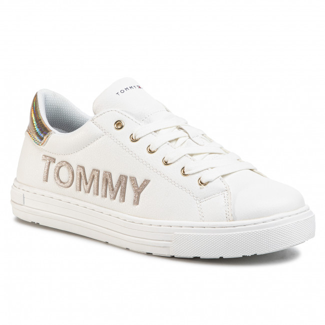 Sneakersy TOMMY HILFIGER - Low Cut Lace-Up Sneaker T3A4-30612-0977 D White/Gold X068