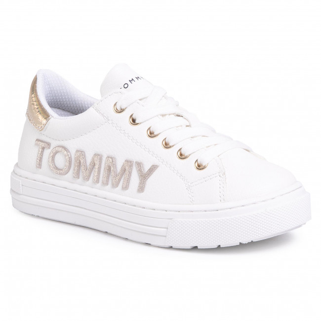 Sneakersy TOMMY HILFIGER - Low Cut Lace-Up Sneaker T3A4-30612-0977 S White/Gold X068