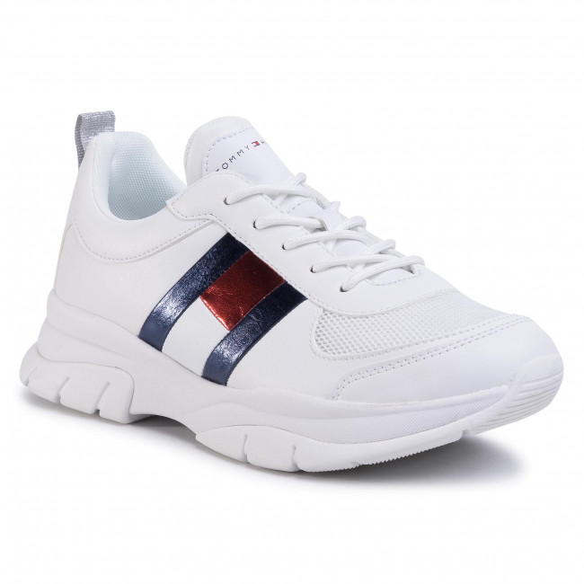 Sneakersy TOMMY HILFIGER - Low Cut Lace-Up Sneaker T3A4-30633-0968 D White 100