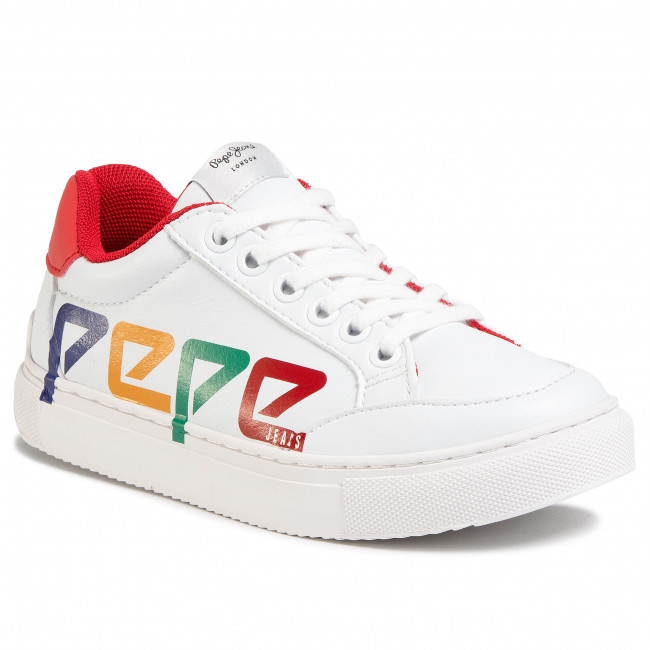 Sneakersy PEPE JEANS - Adams Patch Junior PBS30435  White 800