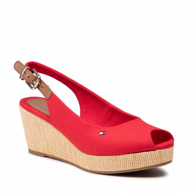 Espadryle TOMMY HILFIGER - Iconic Elba Sling Back Wedge FW0FW04788 Primary Red XLG