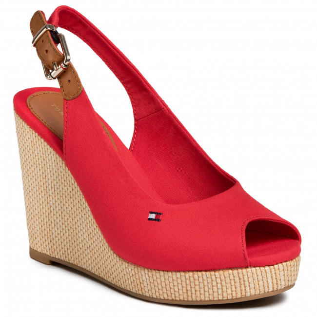 Espadryle TOMMY HILFIGER - Iconic Elena Sling Back Wedge FW0FW04789 Primary Red XLG