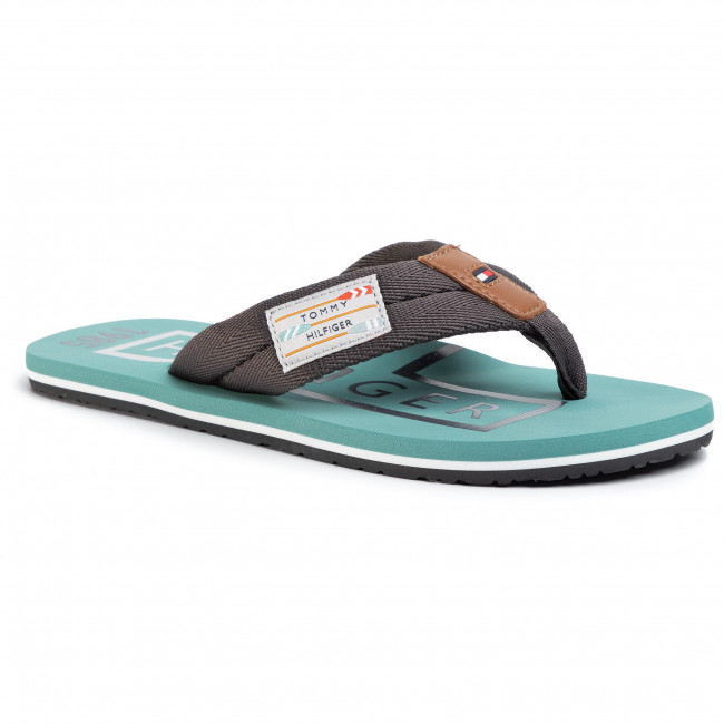 Japonki TOMMY HILFIGER - Badge Beach Sandal FM0FM02706 Dark Ash PTY
