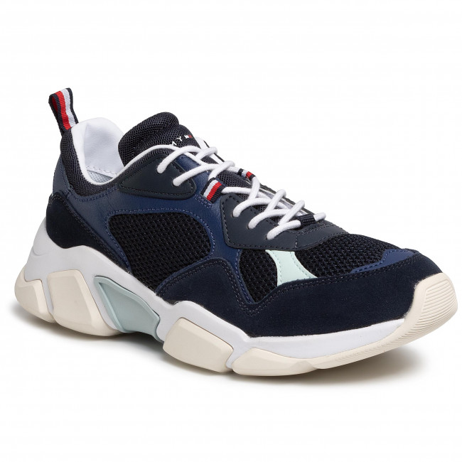 Sneakersy TOMMY HILFIGER - Chunky Material Mix Sneaker FM0FM02660 Desert Sky DW5