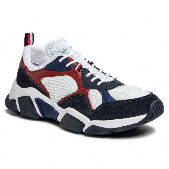 Sneakersy TOMMY HILFIGER - Chunky Material Mix Sneaker FM0FM02660 White YBS