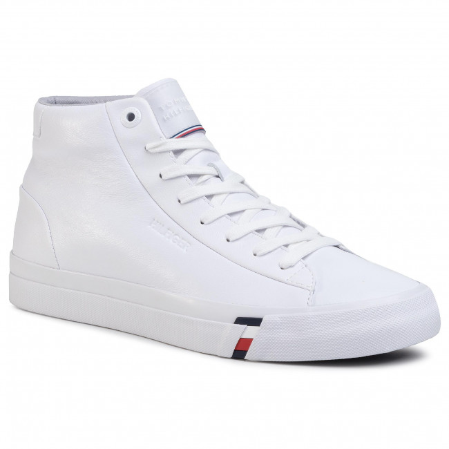 Sneakersy TOMMY HILFIGER - Corporate High Leather Sneaker FM0FM02674 White YBS