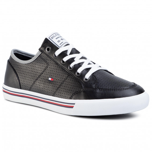 Sneakersy TOMMY HILFIGER - Core Corporate Leather Sneaker FM0FM02677 Black BDS