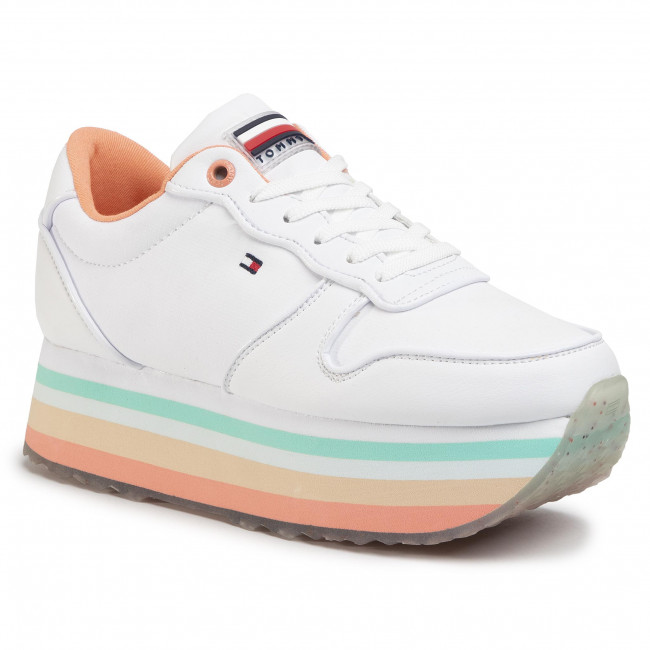Sneakersy TOMMY HILFIGER - Piped Flatform Sneaker FW0FW04702 White YBS