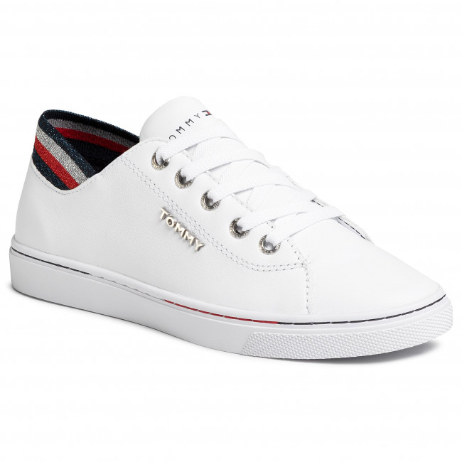 Sneakersy TOMMY HILFIGER - Glitter Detail City Sneaker FW0FW04705 White YBS