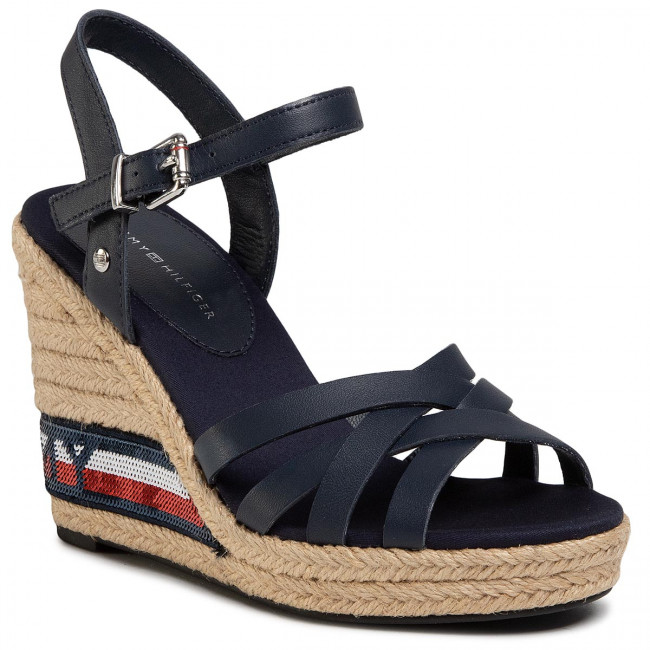 Espadryle TOMMY HILFIGER - Tommy Sequins High Wedge Sandal FW0FW04843 Sport Navy DB9