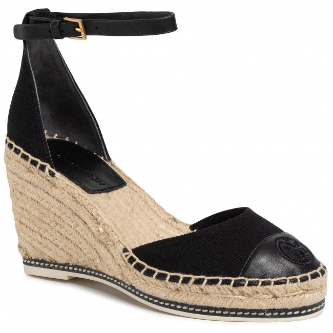 Espadryle TORY BURCH - Color Block 85mm Wedge Espadrille 65103 Perfect Black/Perfect Black 004