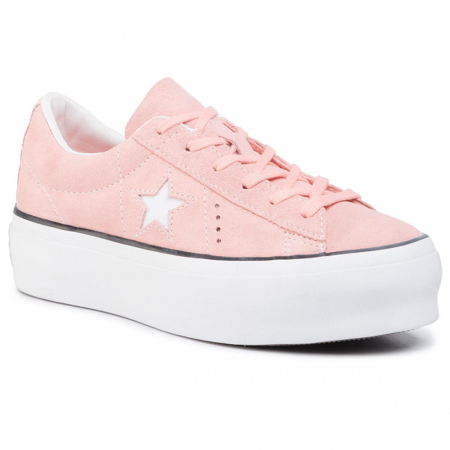 Sneakersy CONVERSE - One Star Platform Ox Bleached Coral/Black/White