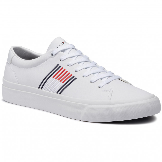 Sneakersy TOMMY HILFIGER - Corporate Leather Sneaker FM0FM02853 White YBR