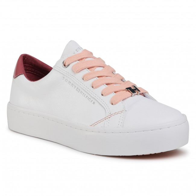 Sneakersy TOMMY HILFIGER - Casual Tommy Hilfiger Sneaker FW0FW05122 White/Misty Red 0LA