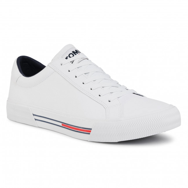 Tenisówki TOMMY JEANS - Essential Leather Sneaker  White YBR