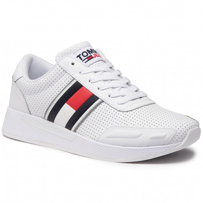 Sneakersy TOMMY JEANS - Flexi Perf Leather Runner EM0EM00580 White YBR