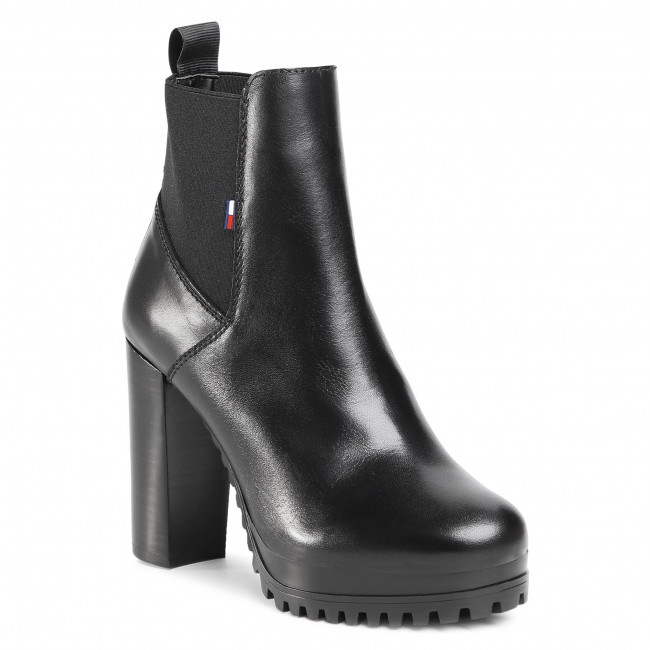 Botki TOMMY JEANS - Essenstial Cleated Heeled Boot EN0EN01075 Black BDS