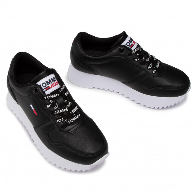 Sneakersy TOMMY JEANS - High Cleated Leather Sneaker EN0EN01120 Black BDS - Sneakersy - PÓłbuty - Damskie XBOYAA8