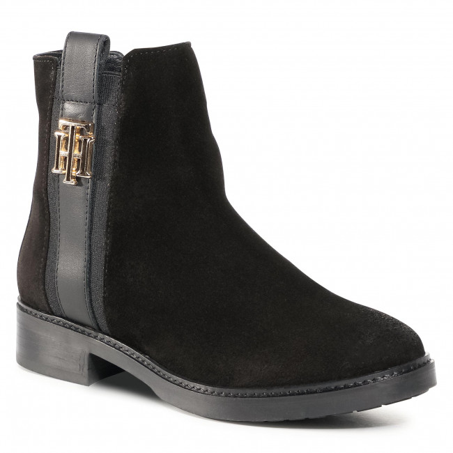 Botki TOMMY HILFIGER - Th Interlock SuedeFlat Boot FW0FW05184 Black BDS