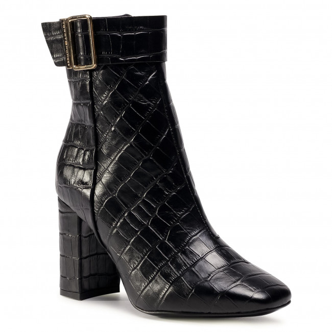 Botki TOMMY HILFIGER - Croco Look High Heel Boot FW0FW05349 Black BDS