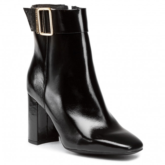 Botki TOMMY HILFIGER - Patent Square Toe Boot FW0FW05156 Black BDS