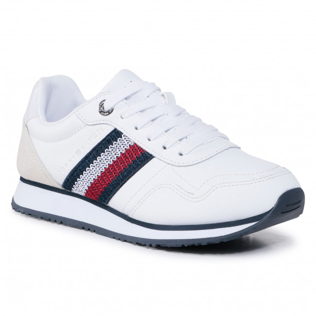 Sneakersy TOMMY HILFIGER - Tommy Leather Low Runner FW0FW05213 White YBR