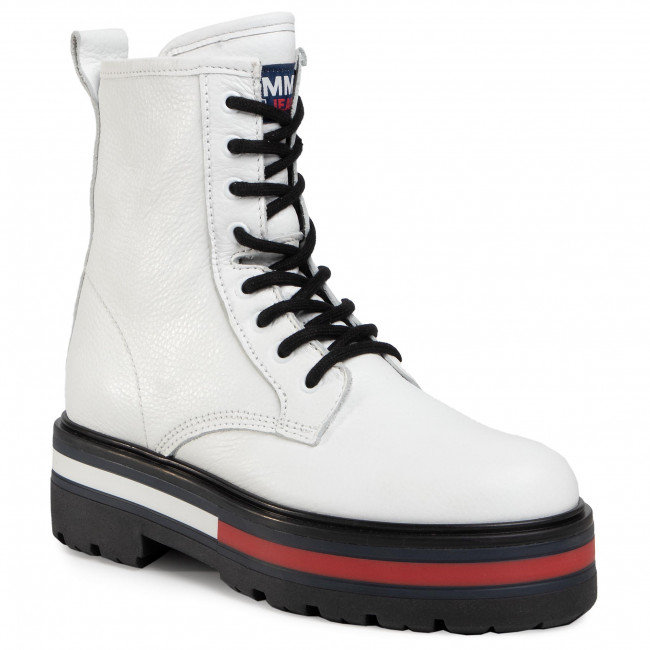 Trapery TOMMY JEANS - Flag Outsole Lace Up Boot  White YBR