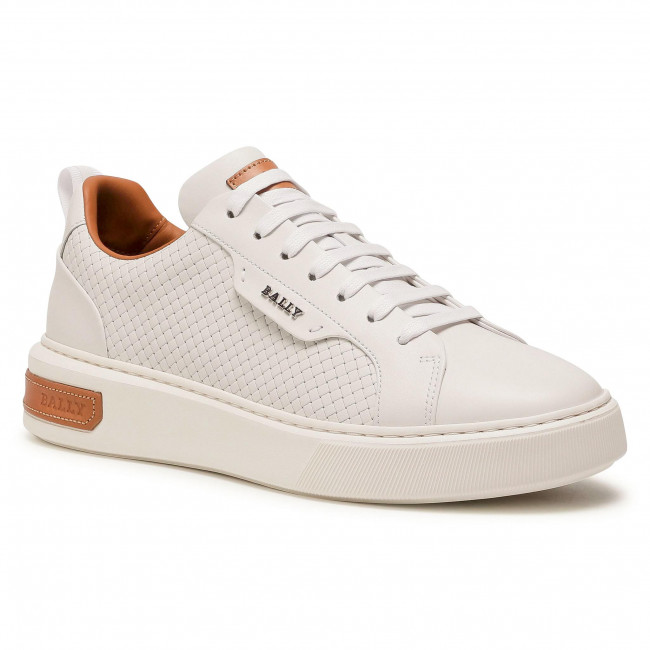 Sneakersy BALLY - Mickey 6234688 White Calf Embossed 0300
