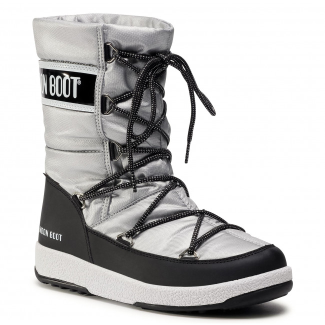 Śniegowce MOON BOOT - Jr G. Quilted Wp 34051400006 D  Silver/Black