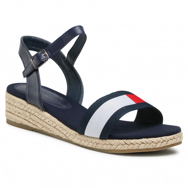 Espadryle TOMMY HILFIGER - Rope Wedge Sandal T3A2-31053-0048Y004 S Blue/White/Red Y004