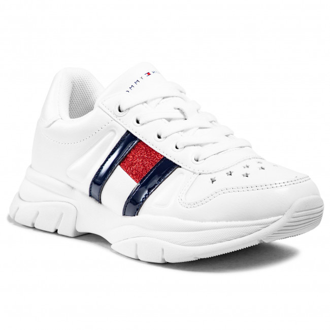 Sneakersy TOMMY HILFIGER - Low Cut Lace-Up Sneaker T3A4-31032-0813100 M White 100