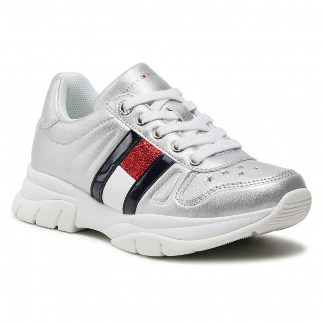 Sneakersy TOMMY HILFIGER - Low Cut Lace-Up Sneaker T3A4-31033-1160 M Silver 904