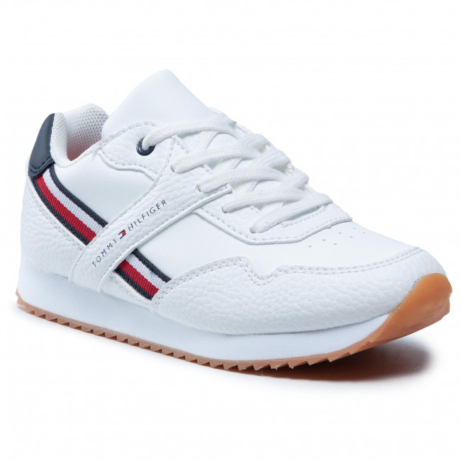 Sneakersy TOMMY HILFIGER - Low Cut Lace-Up Sneaker T3B4-31096-0621 M White/Blue X336