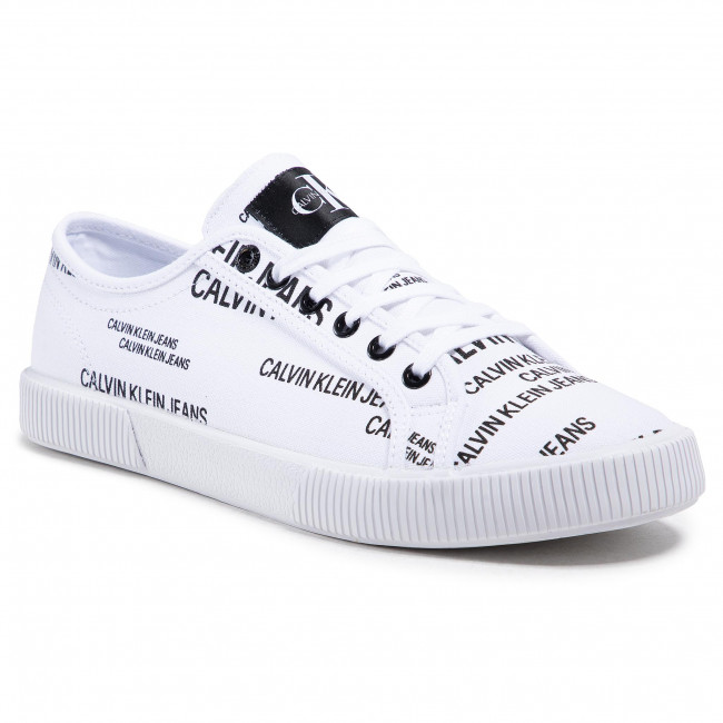 Tenisówki CALVIN KLEIN JEANS - Vulcanized Sneaker Laceup Aop Co YM0YM00077 Bright White YAF