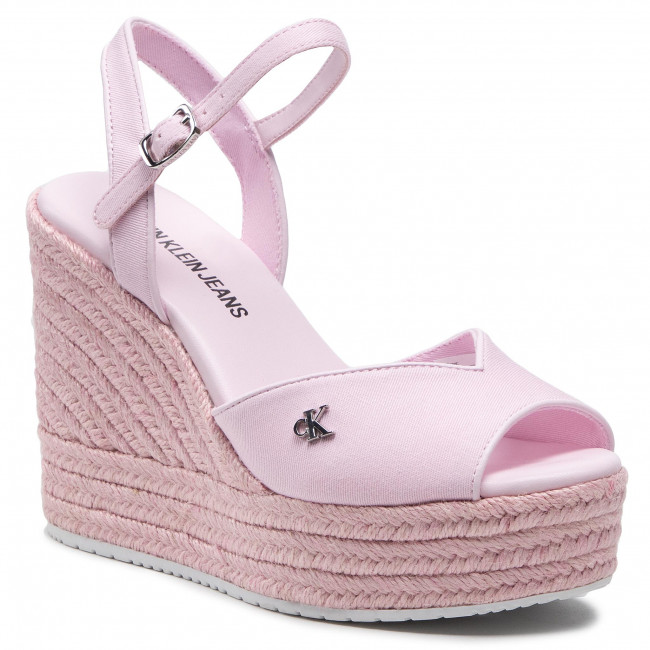 Espadryle CALVIN KLEIN JEANS - Wedge Sandal Ankle Strap YW0YW00121 Pearly Pink TN9