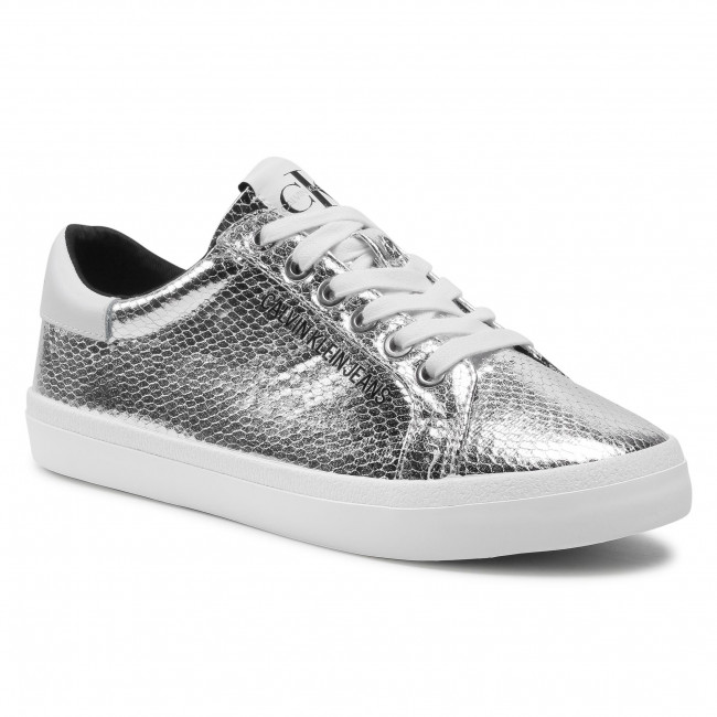 Sneakersy CALVIN KLEIN JEANS - Low Profile Laceup Pyt Pes YW0YW001730 Silver 0GU