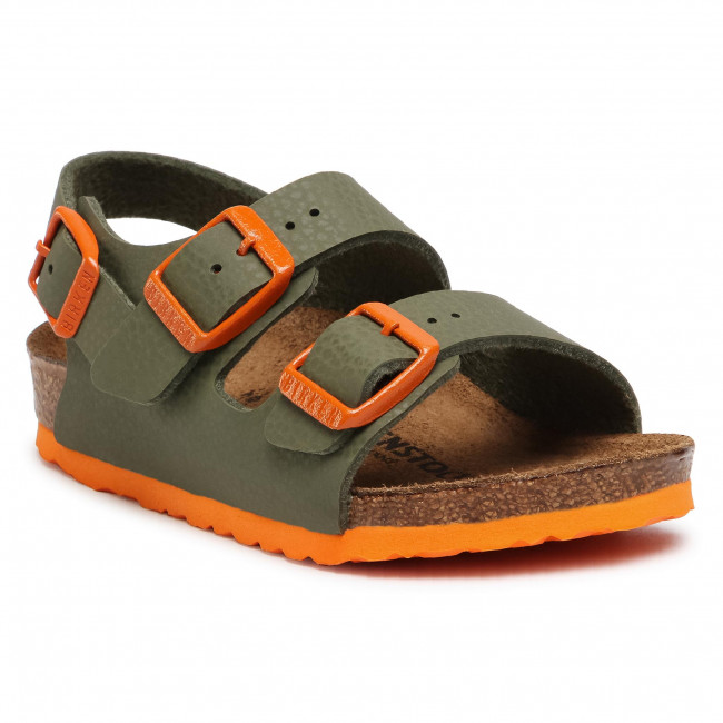 Sandały BIRKENSTOCK - Milano Kinder 1019420 Desert Soil Moss Green/Orange