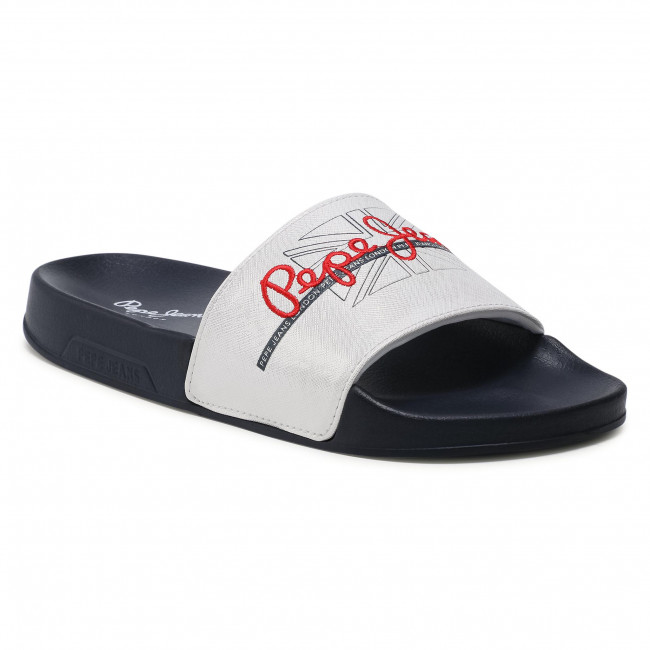 Klapki PEPE JEANS - Slider Flag PLS70097  White 800